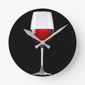 Red Wine Glass Black Drinks Winery Round Clock