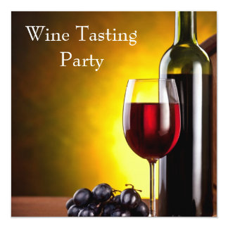 Red Wine Glass Bottle Wine Tasting Party Card