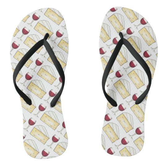 Red Wine Glass + Brie Cheese Flip Flops