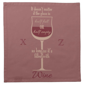 Red Wine Glass custom monogram cloth napkins
