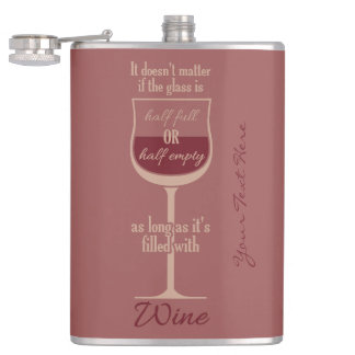 Red Wine Glass custom monogram flask