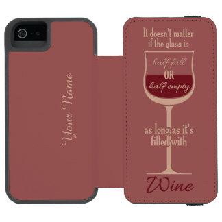 Red Wine Glass custom monogram wallet cases Incipio Watson™ iPhone 5 Wallet Case