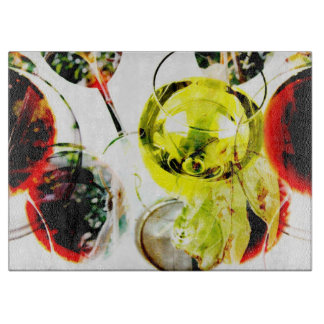 Red wine glass modern photo collage cutting board