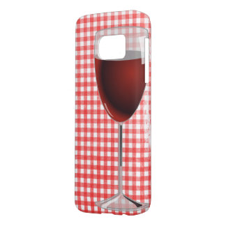 red wine glass on gingham