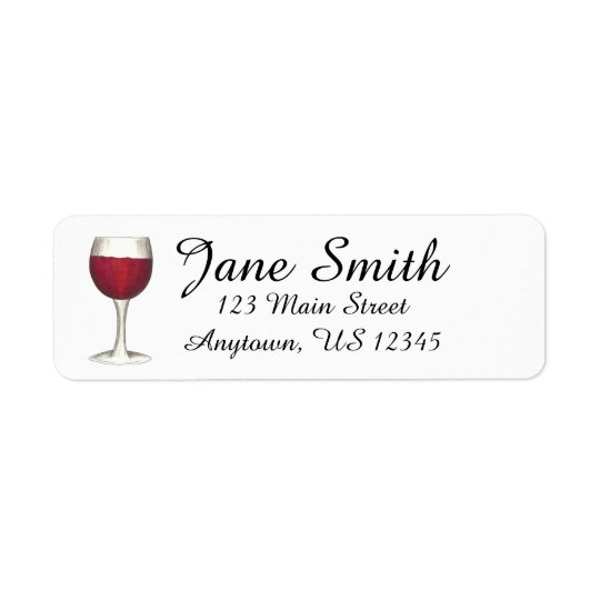 Red Wine Glass Personalised Address Label Stamp