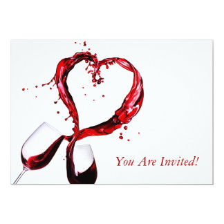 Red Wine Glass Tasting Club Party Invitation Card