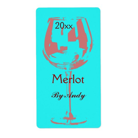 Red wine glass - wine bottle label shipping label