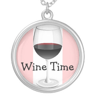 RED WINE GLASS WITH SOFT PINK BORDER ROUND PENDANT NECKLACE