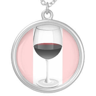 RED WINE GLASS WITH SOFT PINK BORDER SILVER PLATED NECKLACE