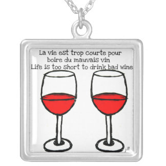 RED WINE GLASSES WITH FRENCH ENGLISH QUOTE SQUARE PENDANT NECKLACE