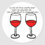 RED WINE GLASSES WITH FRENCH ENGLISH QUOTE ROUND STICKERS