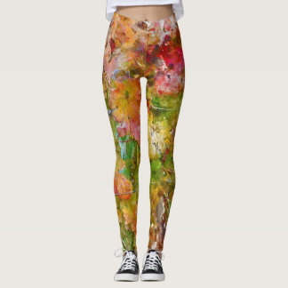 Red Wine Grape Leaves Leggings