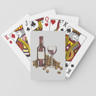 Red Wine Grapes Bottle Glass Playing Cards