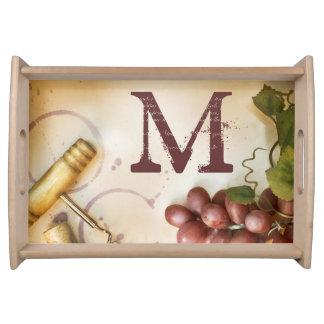 Red Wine Grapes Cork Screw Monogram Serving Tray