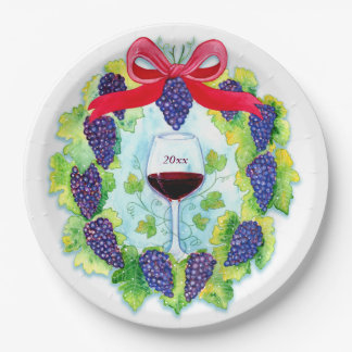 Red Wine Grapes Holiday Wreath with Wine Glass Paper Plate