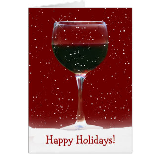 Red Wine Happy Holidays Card