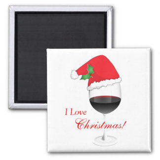 Red Wine Holly Santa Hat I Love Christmas Square Magnet