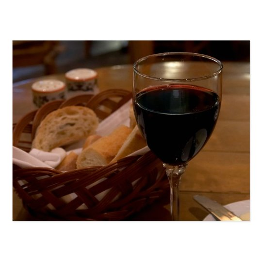 Red Wine In An Italian Restaurant Postcard