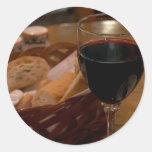 Red Wine In An Italian Restaurant Round Sticker