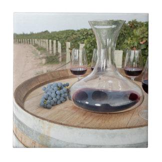 Red Wine In Vineyard Tile
