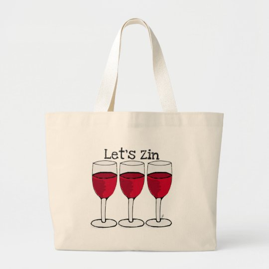 "RED WINE ""LET'S ZIN"" FUN PRINT LARGE TOTE BAG"