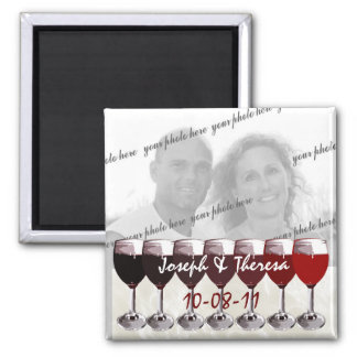 Red Wine Photo Square Magnet