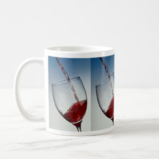 Red wine poured into wine glass basic white mug