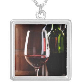 Red Wine Square Pendant Necklace