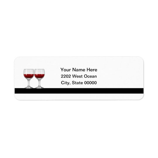 Red Wine Tasting Party Return Address Label