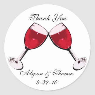 Red Wine Toast Classic Round Sticker