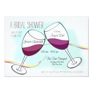 Red Wine Toasting Glasses Bridal Shower 13 Cm X 18 Cm Invitation Card