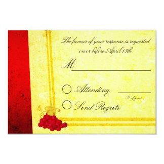 Red Wine Vintage Wedding RSVP Card 9 Cm X 13 Cm Invitation Card