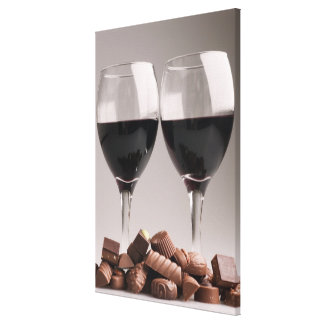 red wine with chocolates canvas print