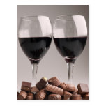 red wine with chocolates postcard