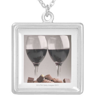 red wine with chocolates silver plated necklace