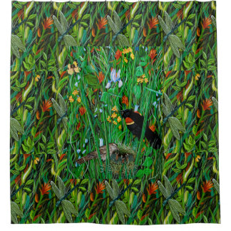"""Red Wing Blackbird & Dragonfly"" Shower Curtain"
