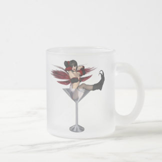 Red Wing Fairy Girl In Martini Glass Frosted Glass Mug