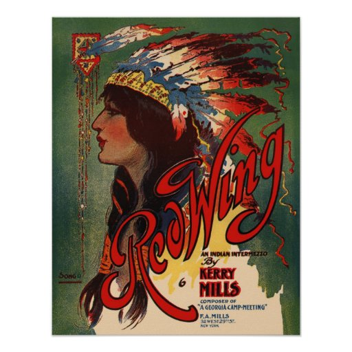 Red Wing Indian Native American Music Art Print