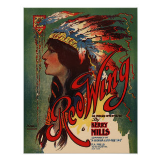 Red Wing Indian Sheet Music Cover Poster