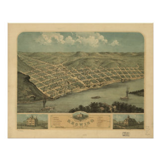 Red Wing Minnesota 1868 Antique Panoramic Map Poster