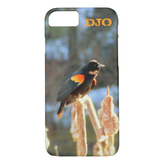 Red Winged Black Bird on Cattail iPhone 7 Case