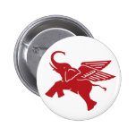 Red winged elephant 6 cm round badge