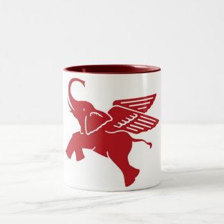 Red winged elephant Two-Tone coffee mug