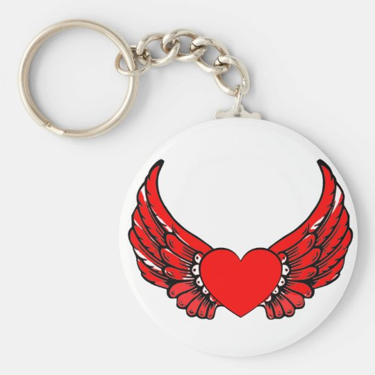 Red Winged Hearts Basic Round Button Key Ring