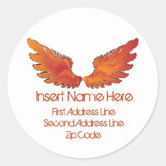 Red Wings Return Address Round Sticker