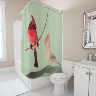 Red Winter Birds Christmas Cardinals on Green Shower Curtain