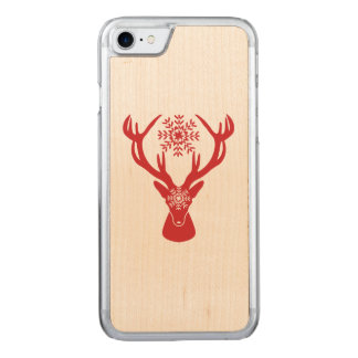 Red Winter Deer with Snowflakes Carved iPhone 8/7 Case