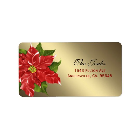 Red Winter Flower Christmas Address Label