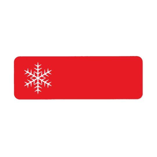 Red winter snowflake Christmas Holiday blank Return Address Label