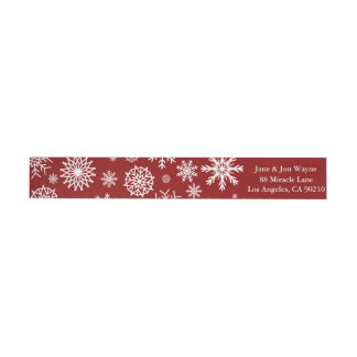 Red Winter Snowflake Christmas Return Address Wrap Around Label